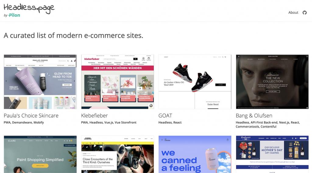 """Auf der Webseite headless.pages finden sich viele Beispiele erfolgreicher Onlineshops, die """"Headless E-Commerce"""" für sich nutzen."""